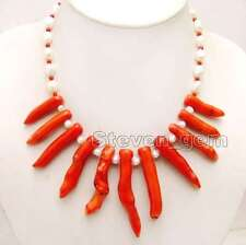 """SALE 8*70mm Red Branch shape Coral & 7-9mm White Baroque Pearl 18"""" Necklace-6161"""