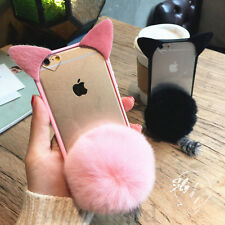 3D New Cute cartoon pink cat ear Furry Hairball case cover for iphone 7 6S plus