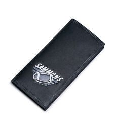 Male Real Genuine Leather Purse Checkbook Wallet Clutch Bag Long Rugby Print New