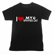 Sphynx cat t shirt I love Clothing Tee T-shirt Heart pet breed hairless kittens