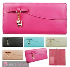 NEW KITTTY CHARM BOW DETAIL FAUX LEATHER LONG LADIES WALLET PURSE