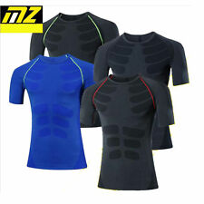 Mens Compression Thermal Under Base Layer Tops Short Sleeve Tights T-shirts MT53