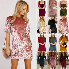 Womens Velvet Bodycon Mini Dress Evening Party Clubwear Cocktail Dress Sleepwear