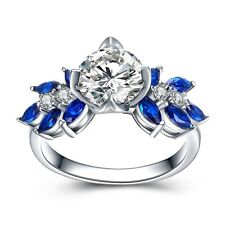 Rings Luxury Sapphire CZ Unique Personality Engagement Wedding Sterling Silver