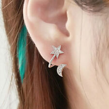 1Pair Women Elegant Crystal Rhinestone Earrings Charm Moon Star Ear Stud Earring
