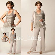 Navy Mother of Bride/Groom Pant Suit Wedding Formal Outfit Vest+Jacket+Pants Mum