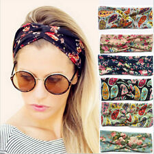 Women Ladies Retro Style Floral Headband Cloth Hairband Hair Band Headwrap