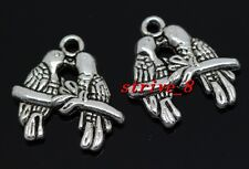40/200pcs Tibetan silver two-sided parrot Jewelry Finding Charms Pendant 18x18mm