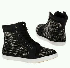 Ladies Black Diamante Hi Top Trainers Sneakers Ankle Boots Shoes Size 3-8
