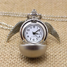 Harry Potter Snitch Watch Necklace Steampunk Quidditch Pocket Clock Watch Silver