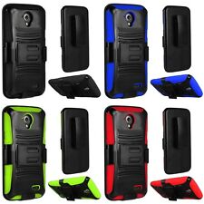 For ZTE Stratos Allstar LTE Heavy Duty Rugged Stand Belt Clip Holster Case Cover