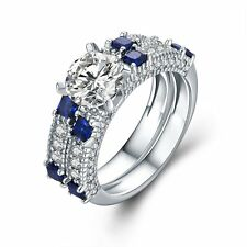 925 Sterling Silver Cubic Zirconia Engagemen Sapphire Ring Women Fashion Jewelry
