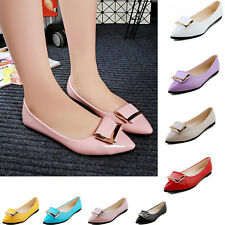 Womens Pumps Pointed Toe Square Buckle Flats Casual Slip On Loafers Ballet Shoes