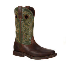 Rebel by Durango Mens Brown/Green Leather Pull-On Western Cowboy Boots