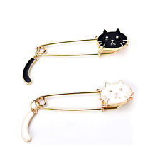 Cute Brooches Black White Cats Oil Drop Exquisite Brooch Pins Fashion Jewelry SD