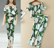 J 2017 spring occident runway retro printing top+pants suits hot sale new style