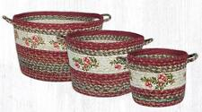 """BRAIDED JUTE UTILITY/STORAGE BASKETS """"CRANBERRY"""" 3 SIZES/SET.By EARTH RUGS"""