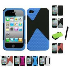 For Apple iPhone 4/4S Hybrid Rugged Impact Hard Soft Case Phone Cover Stylus Pen