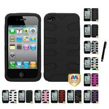 For Apple iPhone 4/4S Hybrid IMPACT Hard Soft Rugged Armor Case Cover Stylus Pen