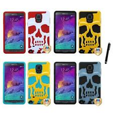 For Samsung Galaxy Note 4 Hybrid Skull Skeleton Impact Hard Soft Case Stylus Pen