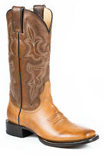 Stetson Jane Ladies Tan Leather Burnished 12in Cowboy Boots