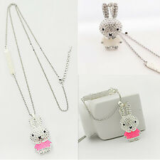 1Pcs Rabbit Rhinestone Girls Necklace Pendant Jewelry Enamel Chain Crystal