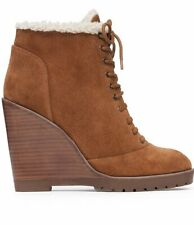 JESSICA SIMPSON KAELO CANELA BROWN LACE UP SHEARLING PLATFORM WEDGE ANKLE BOOT