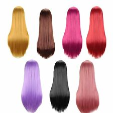 """Womens 19"""" Full Long Fancy Dress Wigs Straight Cosplay Costume Ladies Wig Party"""