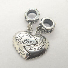Genuine S925 Sterling Silver Mother Daughter Love Heart Dangle Charm
