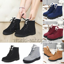 Womens Faux Suede Fur Snow Boots Lace Up Warm Ankle Shoes Martin Bootie Flats