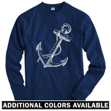 Anchor Long Sleeve T-shirt - LS Men S-4X - Gift Hipster Nautical Marine US Navy