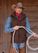STS Ranchwear Mens Brown Lucas Down Style Vest w/ leather accents