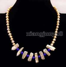 6-7mm round Natural Pink pearl and Biwa Pearl & Blue Jade 17'' Necklace-ne6170