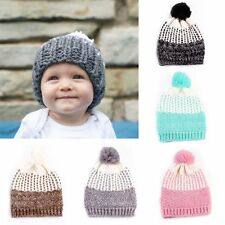 Boys Girls Winter Warm Wool Knit Beanie Baby Crochet Ski Cap Pompom Ball Hat