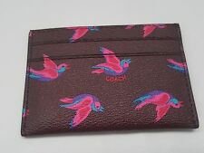 NEW COACH floral bird pattern print business Credit Card Holder slim Case