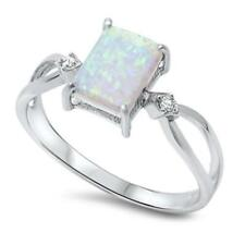 925 Sterling Silver WHITE AUSTRALIAN OPAL & CZ All Sizes Available SIZE 4 Ring