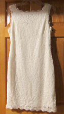 NWT $145 Adrianna Papell Sleeveless Zipper Back Lace Cocktail Dress Ivory 10 14
