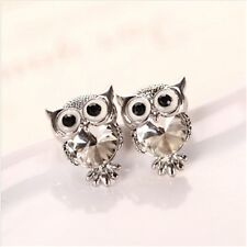 Women Charms Owl Stud Earrings Cute Colors Fashion Jewelry White Gold Plated
