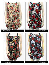 """US HANDMADE REVERSIBLE APRON WITH  """"SKULLS ROSES""""  PATTERN,  , COTTON, NEW"""