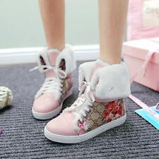 Womens Floral Printing Sports Cuffed Fleece Lined Lace Up Wedges Heel Ankle Boot