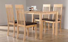 Milton & Oxford Oak Dining Table and 4 6 Leather Chairs Set (Brown Seat Pad)