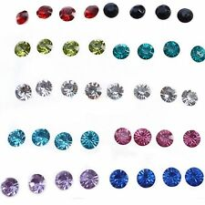 Girls Round Clear/Multicolor Rhinestone Pin Ear Studs Crystal Earrings Jewelry