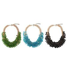 Boho Multilayer Crystal Beads Necklace Chain Chunky Choker Statement Jewelry