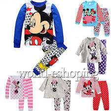 Baby Toddler Kids Minnie Mickey 2Pcs Pajamas Set Sleepwear Nightwear Casual Suit