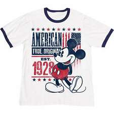 Disney Adult T-Shirt True OG Original Mickey Ringer White Navy