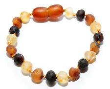 Genuine Raw Baltic Amber Baby Anklet Bracelet for Child Mixed Beads 5.1 - 5.5 in