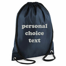 PERSONALISED DRAWSTRING BAG * CUSTOM TEXT* CHOICE COLOUR TEXT