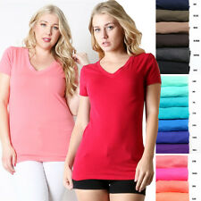 Solid Plain Short Sleeve V Neck Athletic Workout Basic Stretch T-shirt Top