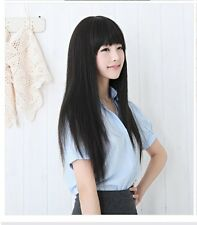 New Fashion Straight Style Long Party Women Girl Full Black Hair Cosplay Wigs