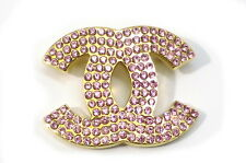 Free Shipping Authentic CHANEL Gold CC Logo Brooch with Rhinestones 17-27NC